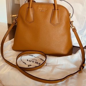 Authentic Prada Saffiano Cuir Dome Satchel Bag
